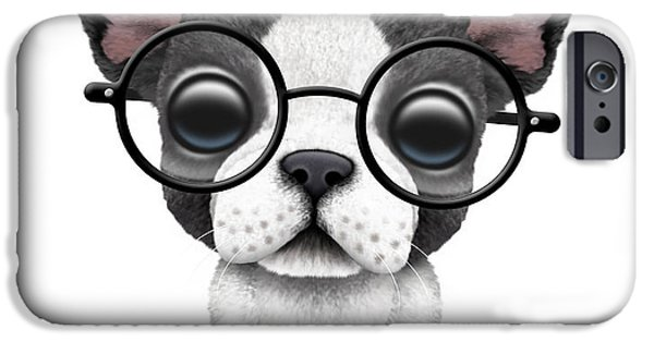 Puppy Digital iPhone Cases - Cute French Bulldog Puppy Wearing Glasses iPhone Case by Jeff Bartels