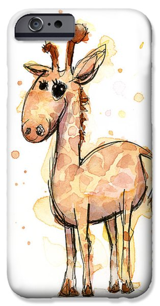 Giraffes iPhone Cases - Cute Giraffe  iPhone Case by Olga Shvartsur