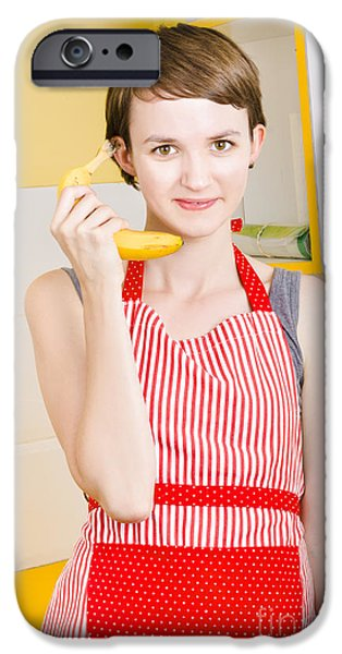 Youthful iPhone Cases - Cute girl talking on fruit phone in kitchen iPhone Case by Ryan Jorgensen