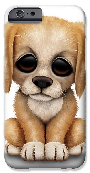 Puppy Digital iPhone Cases - Cute Golden Retriever Puppy Dog iPhone Case by Jeff Bartels