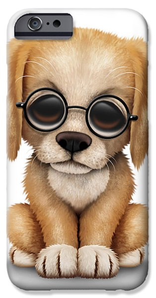 Puppy Digital iPhone Cases - Cute Golden Retriever Puppy Dog Wearing Eye Glasses iPhone Case by Jeff Bartels