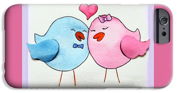 Birds iPhone Cases - Cute Lovebirds watercolour iPhone Case by Terri  Waters