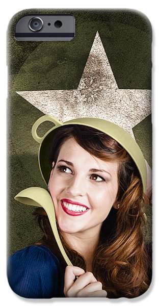 Happy Posters iPhone Cases - Cute military pin-up woman on army star background iPhone Case by Ryan Jorgensen