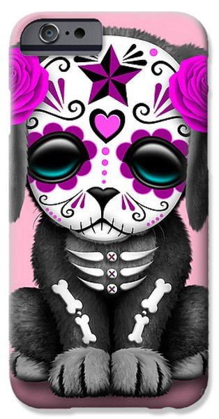 Cute Puppy iPhone Cases - Cute Pink Day of the Dead Sugar Skull Dog  iPhone Case by Jeff Bartels