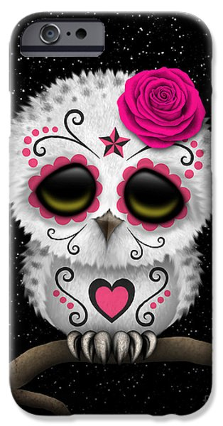 Snowy Day Digital Art iPhone Cases - Cute Pink Day of the Dead Sugar Skull Owl on a Branch iPhone Case by Jeff Bartels