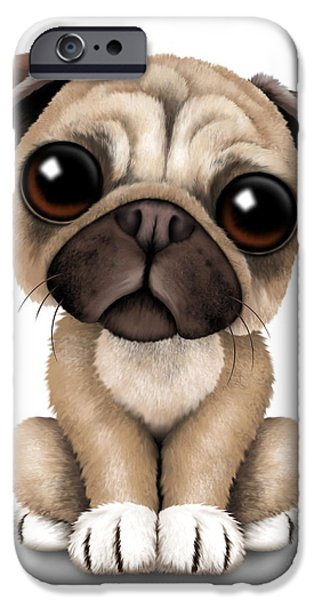 Puppy Digital Art iPhone Cases - Cute Pug Puppy Dog iPhone Case by Jeff Bartels
