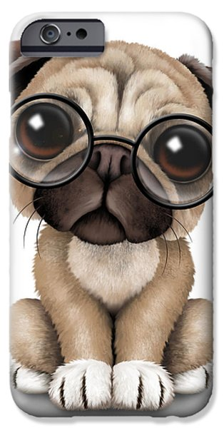 Puppy Digital iPhone Cases - Cute Pug Puppy Dog Wearing Eye Glasses iPhone Case by Jeff Bartels