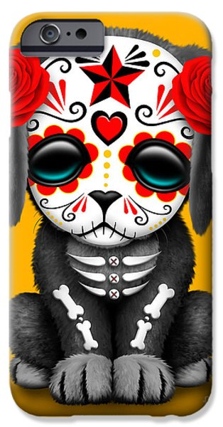 Puppy Digital iPhone Cases - Cute Red Day of the Dead Sugar Skull Dog  iPhone Case by Jeff Bartels