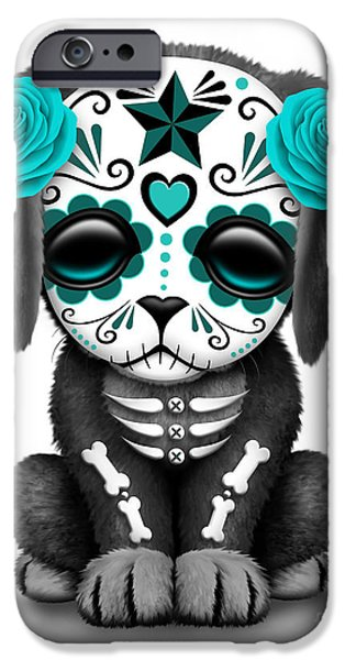 Cute Puppy iPhone Cases - Cute Teal Blue Day of the Dead Sugar Skull Dog  iPhone Case by Jeff Bartels