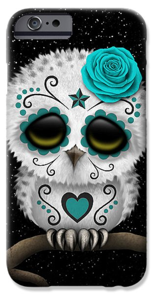 Snowy Day Digital Art iPhone Cases - Cute Teal Day of the Dead Sugar Skull Owl on a Branch iPhone Case by Jeff Bartels