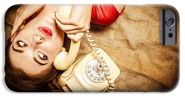 1950s Portraits iPhone Cases - Cute vintage pin up girl making telephone call iPhone Case by Ryan Jorgensen