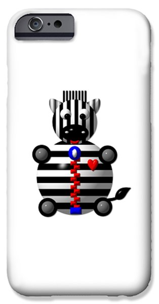 Artists4god iPhone Cases - Cute Zebra with a Zipper iPhone Case by Rose Santuci-Sofranko