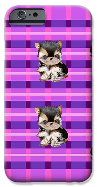 Cute Puppy iPhone Cases - Cutest Puppy Plaid  iPhone Case by David Michael  Schmidt