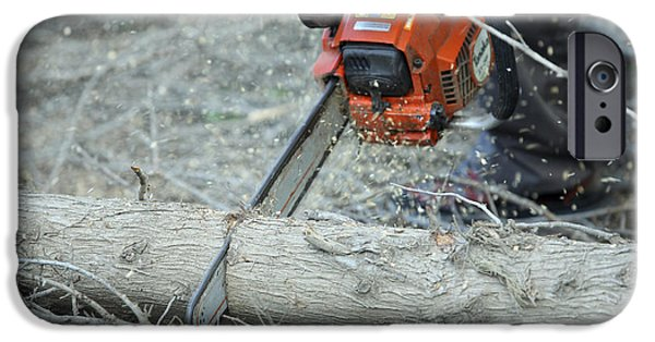 Power iPhone Cases - Cutting Firewood  iPhone Case by Chen Leopold