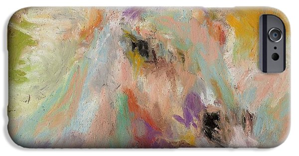 Horse Pastels iPhone Cases - Cutting loose iPhone Case by Frances Marino