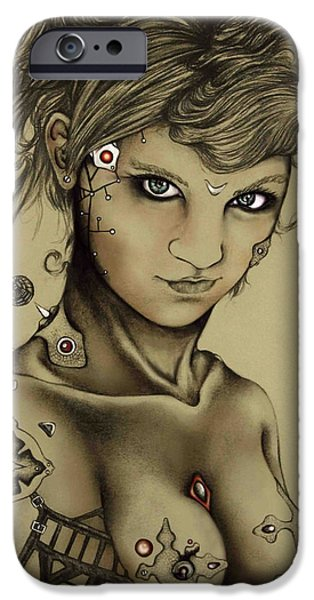 Abstract Digital Drawings iPhone Cases - Cyber Girl iPhone Case by Maria Gabriela Arevalo Reggeti