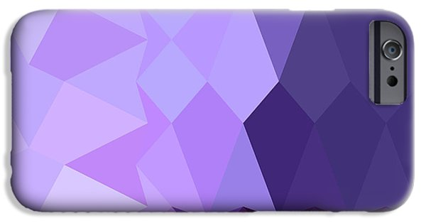 Mosaic iPhone Cases - Cyber Grape Purple Abstract Low Polygon Background iPhone Case by Aloysius Patrimonio