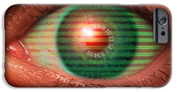 Police iPhone Cases - Cybernetic Eye iPhone Case by Victor Habbick Visions