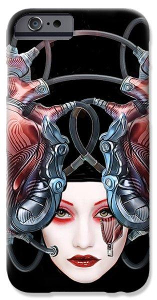 Surrealism Digital iPhone Cases - Cyborg Masque iPhone Case by Elisabeth Trostli