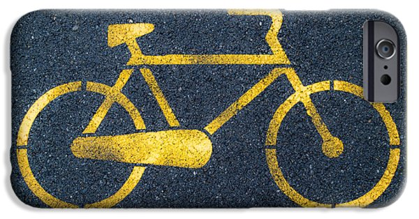 Asphalt iPhone Cases - Cycle lane iPhone Case by Andrea Casali