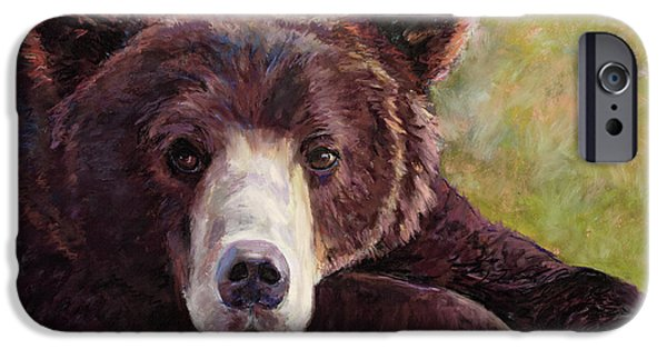 Mountain Pastels iPhone Cases - Da Bear iPhone Case by Billie Colson