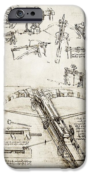 Cut-outs iPhone Cases - Da Vincis Crossbow iPhone Case by Library Of Congress