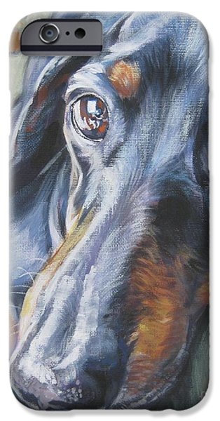 Portrait Paintings iPhone Cases - Dachshund black and tan iPhone Case by L A Shepard
