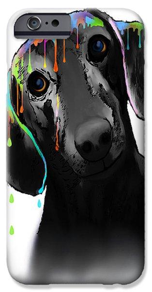 Dachshund Digital Art iPhone Cases - Dachshund iPhone Case by Marlene Watson