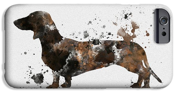 Canine Mixed Media iPhone Cases - Dachshund iPhone Case by Rebecca Jenkins