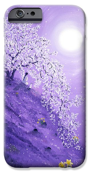 Buddhist Paintings iPhone Cases - Daffodil Dawn Meditation iPhone Case by Laura Iverson