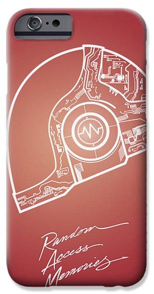 Daft Punk iPhone Cases - Daft punk Guy Manuel Poster random access memories digital illustration print iPhone Case by Lautstarke Studio