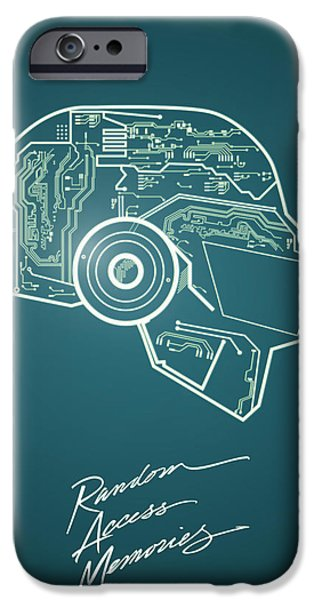Daft Punk iPhone Cases - Daft punk Thomas Poster random access memories digital illustration print iPhone Case by Lautstarke Studio