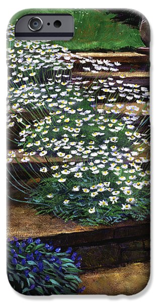 Garden Statuary iPhone Cases - Dainty Daisies iPhone Case by David Lloyd Glover