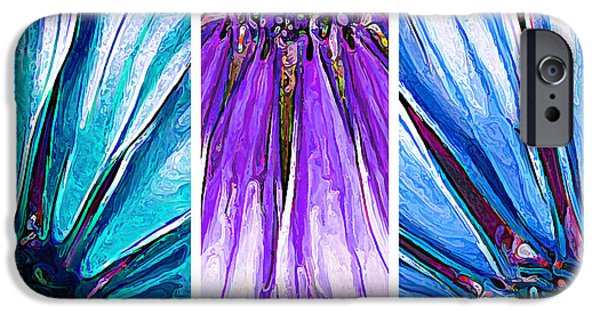 Floral Digital Art Digital Art iPhone Cases - Daisy Petal Abstract Triptych 3 iPhone Case by Bill Caldwell -        ABeautifulSky Photography