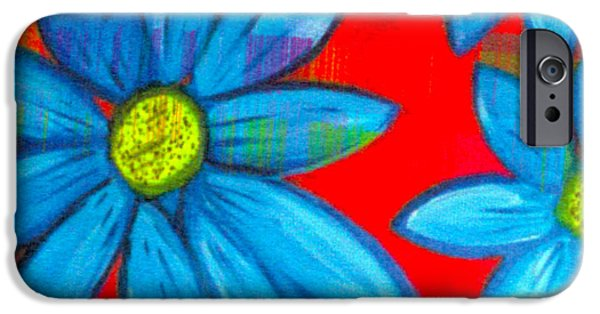 Red Abstract iPhone Cases - Daizy Dayz iPhone Case by Kim Magee