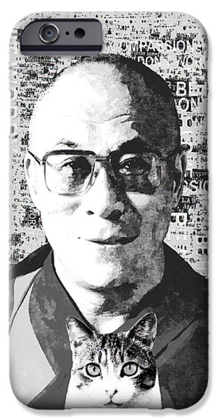 Tibetan Buddhism Mixed Media iPhone Cases - Dalai Lama and Cat iPhone Case by Stacey Chiew