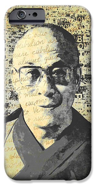 Tibetan Buddhism Mixed Media iPhone Cases - Dalai Lama - Retro Vintage iPhone Case by Stacey Chiew