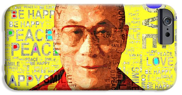 Tibetan Buddhism Mixed Media iPhone Cases - Dalai Lama - Yellow iPhone Case by Stacey Chiew