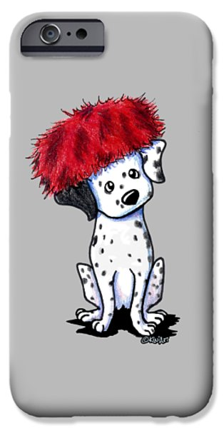 Kim Drawings iPhone Cases - Dalmatian In Red iPhone Case by Kim Niles