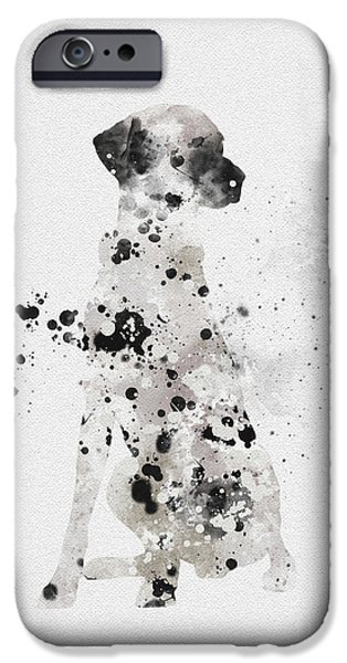Canine Mixed Media iPhone Cases - Dalmatian iPhone Case by Rebecca Jenkins