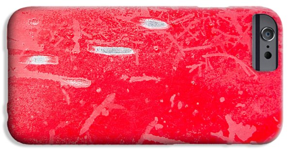 Chip iPhone Cases - Damaged red metal iPhone Case by Tom Gowanlock