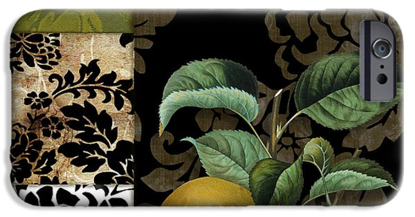 Pears iPhone Cases - Damask Lerain Pear iPhone Case by Mindy Sommers