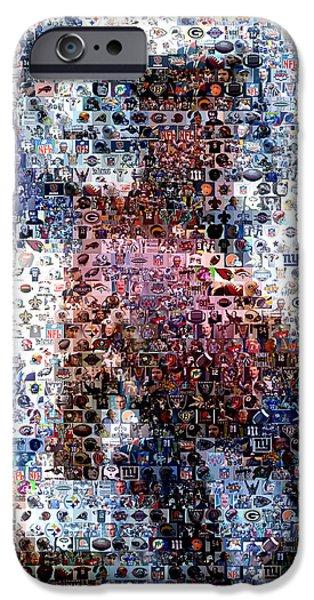 Dan Marino iPhone Cases - Dan Marino Mosaic iPhone Case by Paul Van Scott