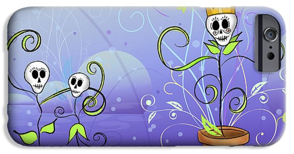 Skeleton Drawings iPhone Cases - Dance for the May Queen iPhone Case by Tammy Wetzel