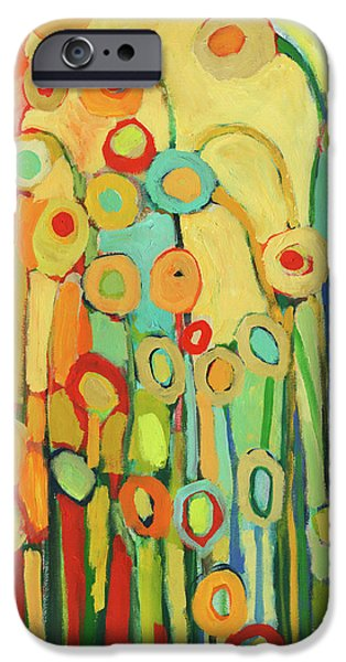 Circles iPhone Cases - Dance of the Flower Pods iPhone Case by Jennifer Lommers
