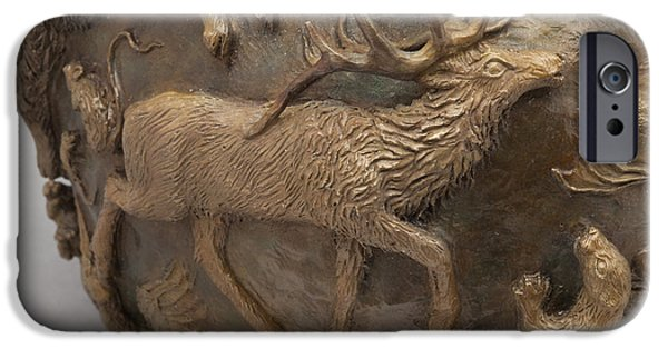 Animal Reliefs iPhone Cases - Dance of the Seasons - bronze wildlife bowl detail iPhone Case by Dawn Senior-Trask