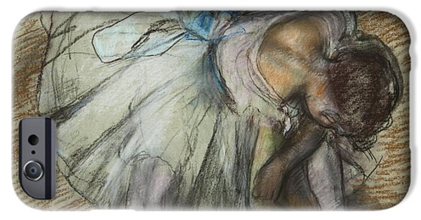 19th Century Pastels iPhone Cases - Dancer Adjusting Her Shoe iPhone Case by Edgar Degas