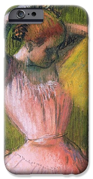 Hairstyle iPhone Cases - Dancer arranging her hair iPhone Case by Edgar Degas