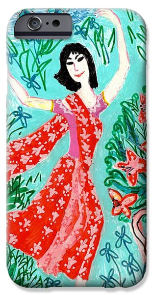 Sue Burgess Ceramics iPhone Cases - Dancer in red sari iPhone Case by Sushila Burgess