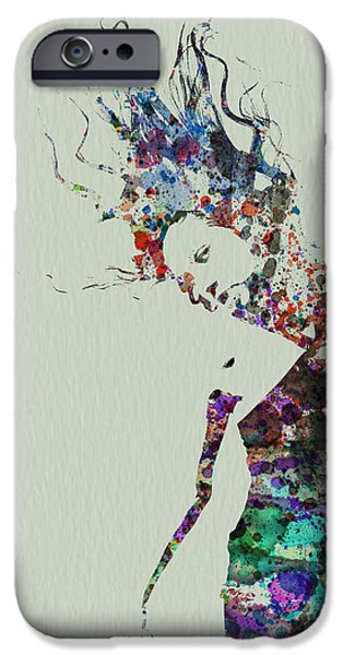 Relationship Paintings iPhone Cases - Dancer watercolor splash iPhone Case by Naxart Studio